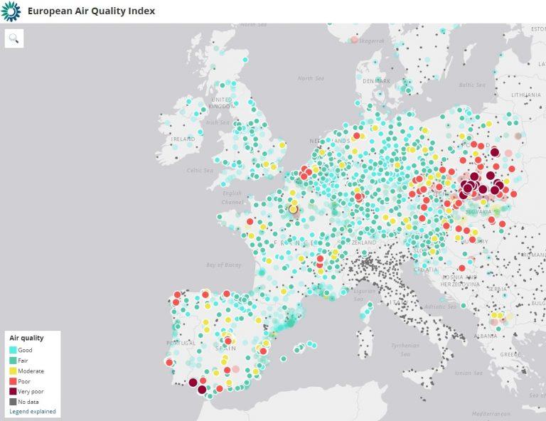 Mapa jakości powietrza w Europie, stan z listopada 2017 r.