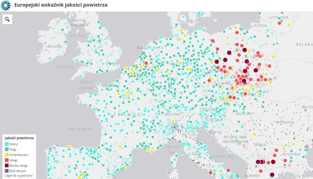 Smog w Polsce na tle Europy - mapa jakości powietrza,.
