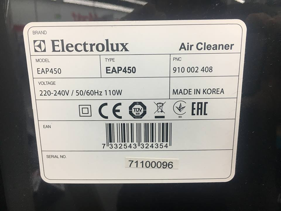 Tabliczka znamionowa oczyszczacza Electrolux EAP450