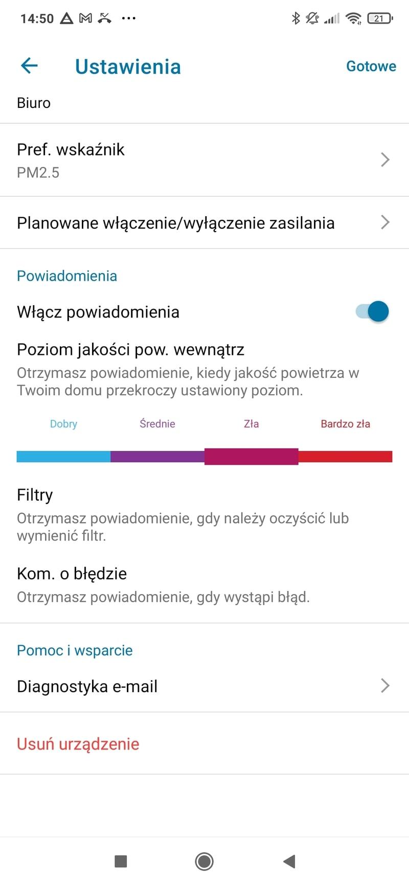 Aplikacja CleanHome+ ustawienia philips ac2729/50