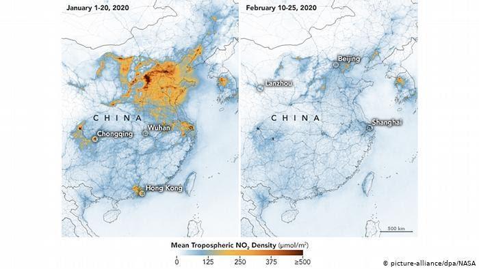 Zdjęcia NASA ukazujące zanieczyszczenie tlenkiem azotu przed i w trakcie trwania epidemii w Chinach