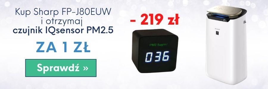 Grafika - promocja oczyszczacz powietrza Sharp FP-J80 z czujnikiem smogu