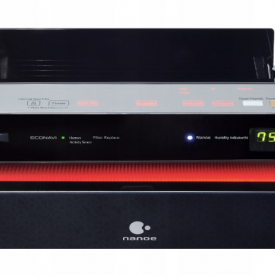 Panel do sterowania, wyświetlacz i otwarty wylot powietrza w oczyszczaczu Panasonic