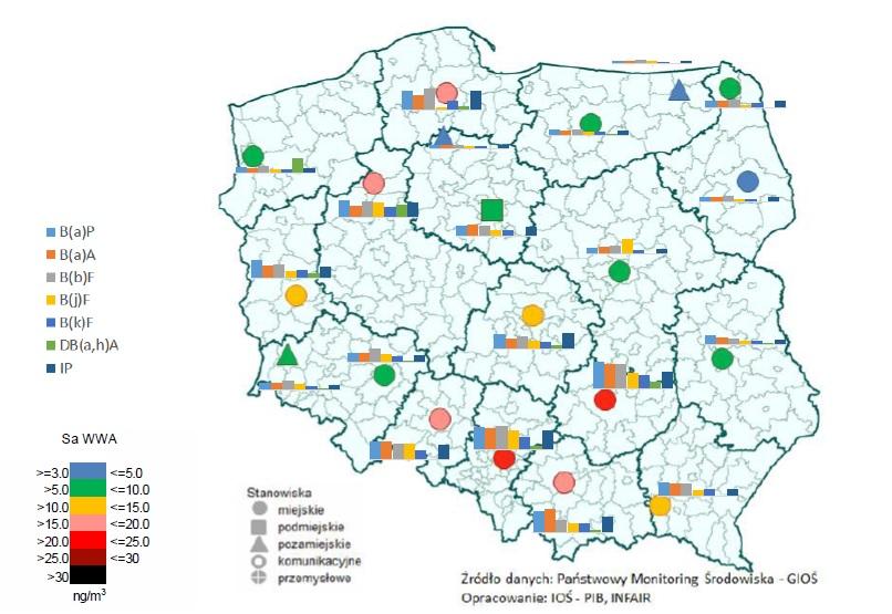 Mapa stężenia WWA w Polsce w 2019 roku
