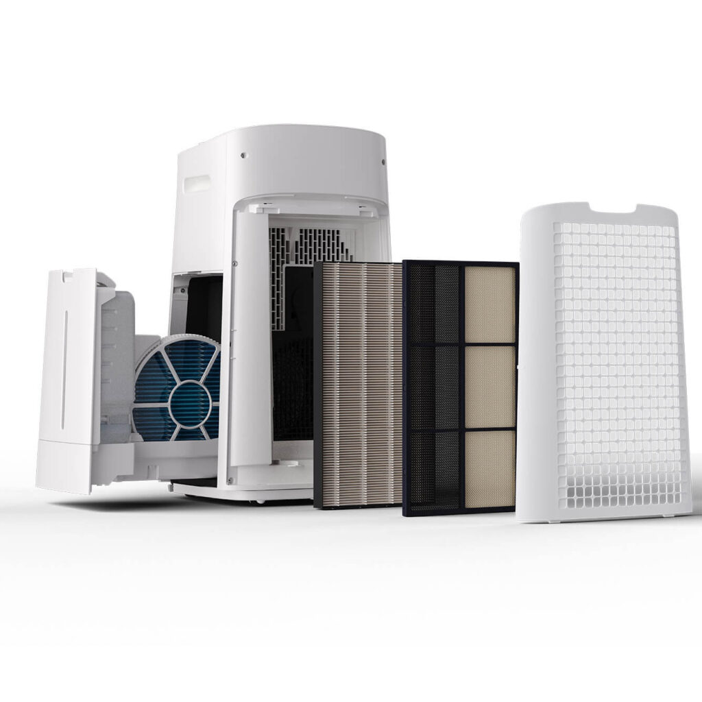 Oczyszczacz powietrza Sharp UA-KIL60E-W z otwartą obudową i wyciągniętymi filtrami