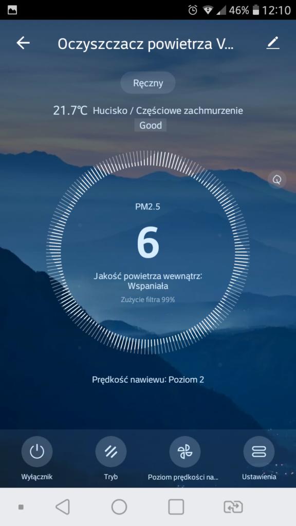 Aplikacja Tuya Smart Vesfrost poziom zanieczyszczeń