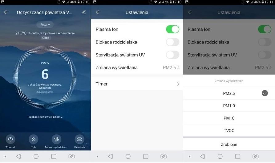 Aplikacja mobilna Tuya Smart oczyszczacz powietrza Vestfrost