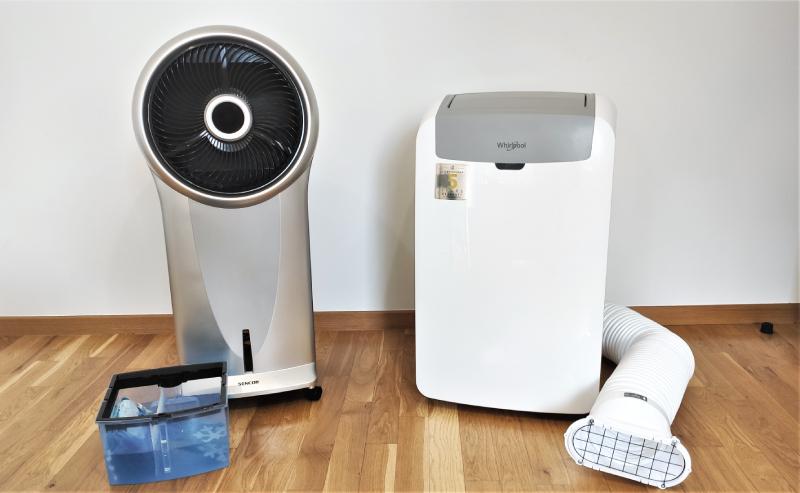 Klimatyzer Sencor SFN 9011SL i klimatyzator domowy z rurą Whirlpool PACW29COL