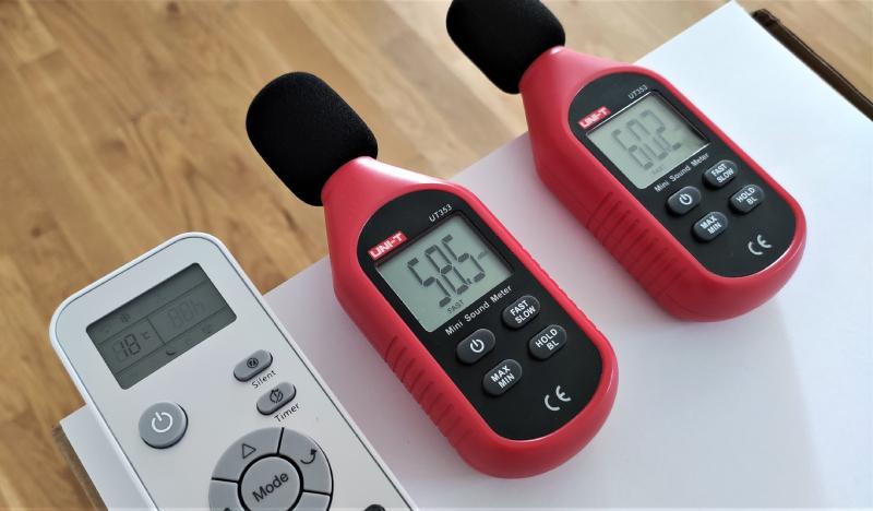 Klimatyzator domowy, pomiar głośności