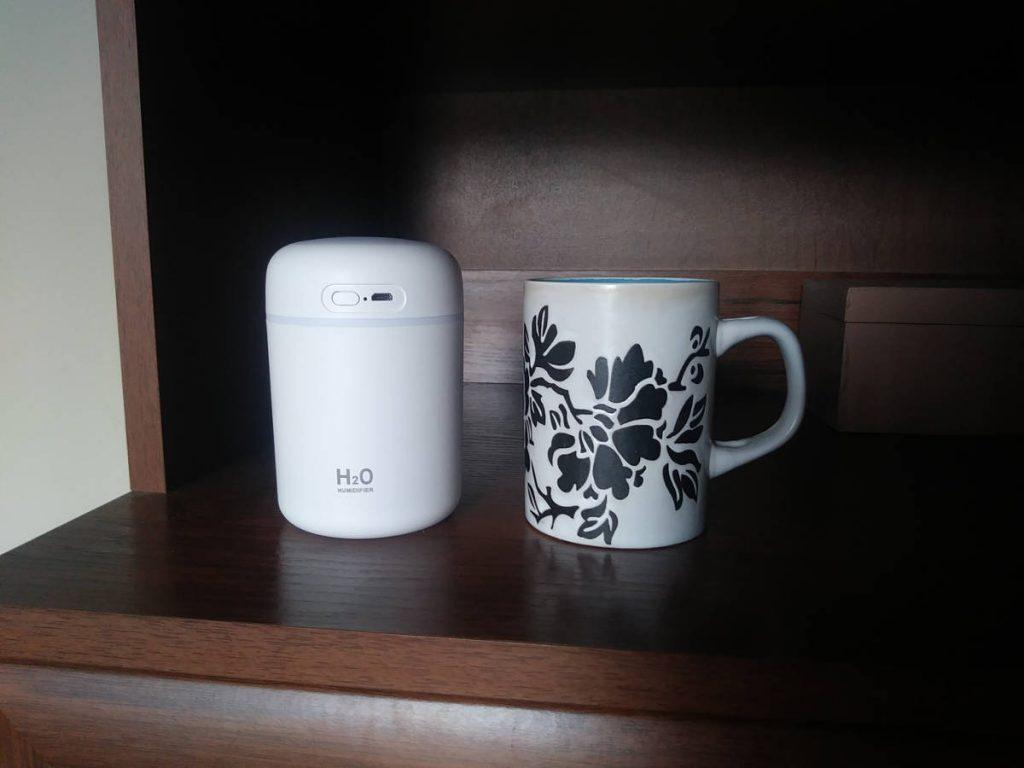 Zestawienie wielkości nawilżacza H2O Humidifier i kubka